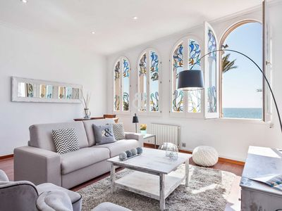 Photo for Be Apartment - Elegant and bright luxury apartment with sea views. 2 bedrooms and 2 bathrooms. Located in front of the Paseo Maritimo de Sitges.