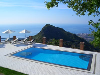 Full size view of the 8m x 4m infinity edge pool