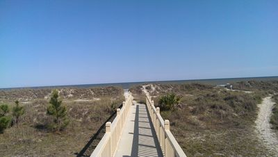 Bridge over the dunes to the Leamington beach. 5 minute walk from villa