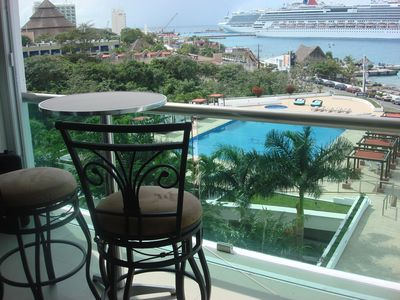 Beautiful views of the ocean, pool, and cruise ships right from your terrace