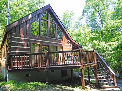 Photo for 2 Bedroom / 2 Baths, Log Cabin, Hot Tub, Wooded Location