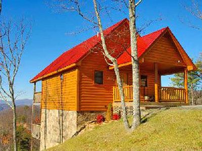 Photo for This is a bright, sunny cabin with real log cabin style, breathtaking views!!