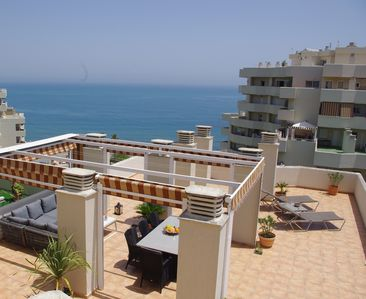 Photo for Semi penthouse, 150 m2 private terrace, seaview, waterpark, beach, refurb. 2016