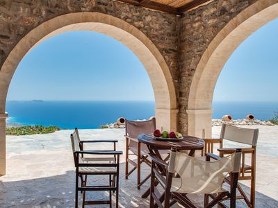 Photo for Stone Cretan home on the cliff overlooking the Libyan sea