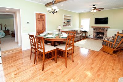 Living/dining room: pub dining set seats 6, gas logs, wide-screen HDTV