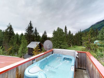 Photo for NEW LISTING! Spacious cabin w/private hot tub, mountain & glacier views