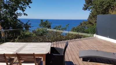 """Photo for Chalet """"LITTLE PARADISE"""" SEA VIEW 1st row - large terrace - ground floor"""