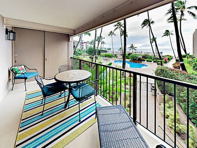 Photo for Ocean-View Gem w/ Lanai, Pool & New Furnishings - Walk to Swimming Beach