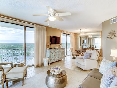 Photo for Large beachfront condo w/views from private balcony and shared hot tub & pool