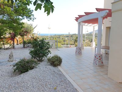 Photo for Large 5 bedroom Villa with views over open country to the sea.