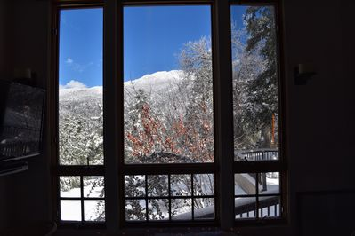 Snow capped mountain view from the living room (snow is seasonal:-)