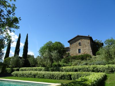 Photo for Panoramic location: private + near village located country house, 1,5h garden, swimming pool