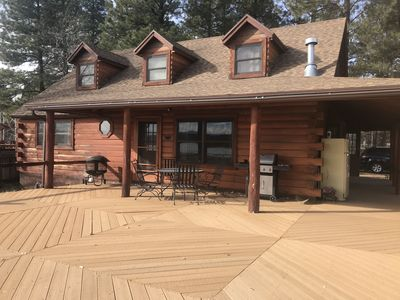 Photo for Family Friendly Lakefront Cedar Log Cabin on 2 acres at Rainbow Lake.