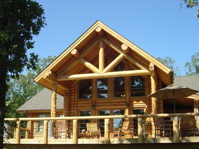 Photo for Secluded Full Log  home on 12 wooded acres with view of Lake Tenkiller.