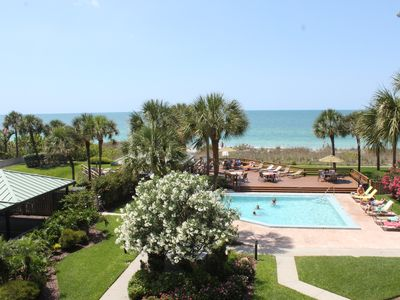 Enjoy this breathtaking view of the beach, gulf/pool from your balcony.