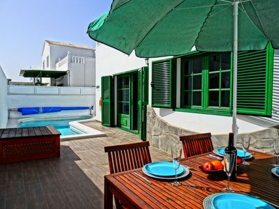 Photo for Villa Dorada Puerto del Carmen private heated pool sleeps 6, beach 750m, 8 mins from airport