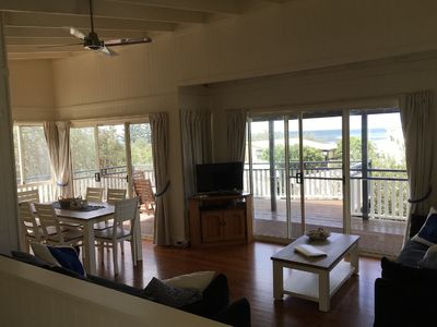 Upstairs living area, lounge dining and large deck with ocean views.