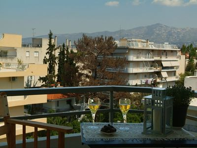 Photo for Lovely Athens Apartment in quiet neighbourhood with views of Mount Hymettos