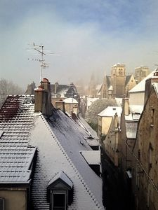 Cold outside in winter, but hydronic heating throughout keeps the apartment cosy