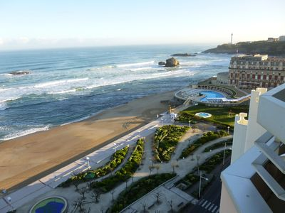 Photo for Biarritz studio 2 pers panoramic ocean-view luxury with direct beach access