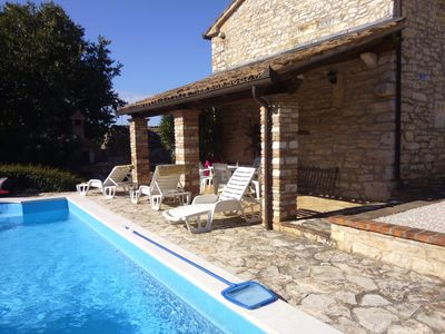 Photo for Traditional Istrian stone farmhouse in centre of village with private pool