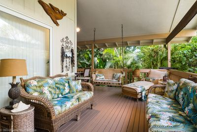 Welcome to Paradise! This home boasts 2500 sf of comfortable living space and is just across the street from the ocean! The large lanai is surrounded by tropical plants with an outdoor dining area and plenty of lounge seating for the whole family!