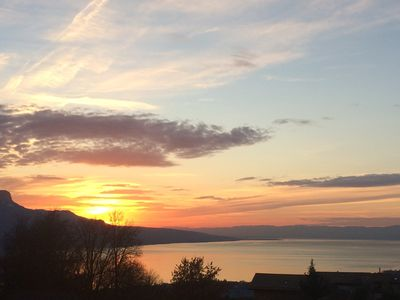 View from the house. Sunset on lake Geneva