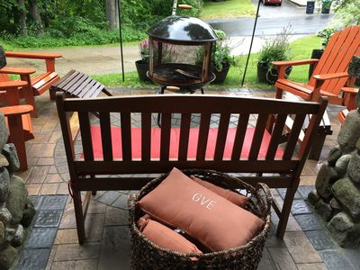 enjoy outdoor fire pit, and tiki torches on patio.