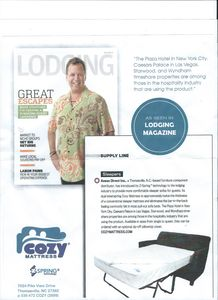 Cozy Mattress recently installed in sleeper sofa as seen in Lodging Magazine