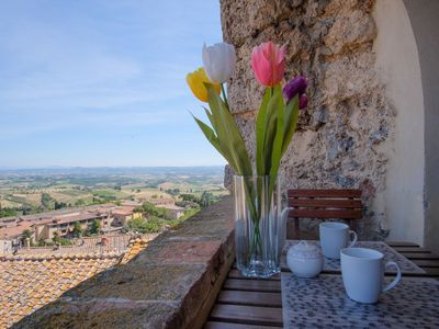 Photo for Comfortable apartment in a typical tower in the centre of San Gimignano