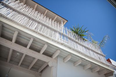 balcony for two of the bedrooms. picture token from the patio