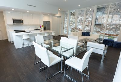 Our interior - open plan with private patio