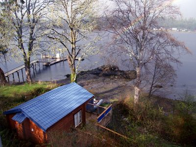 Photo for Cozy, romantic waterfront cabin. Sleeps 2, pet-friendly, walk to all amenities.