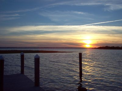 Photo for Bay Front Home W/Dock Close to Beach Far Enough For Quiet Vacation Great Sunsets