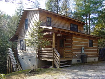 Photo for Near Boone, NC, Secluded Cabin/Creek Setting/Hot Tub/Campfire Pit/WiFi/Fireplace
