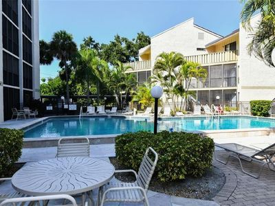 Photo for Ground Level 2BR - steps to heated pool, Intercoastal, and Free Trolly