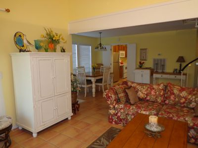 View from the living room to the dining area and kitchen.