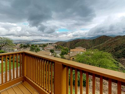 Photo for Beautiful lake view home with large deck overlooking the canyon!