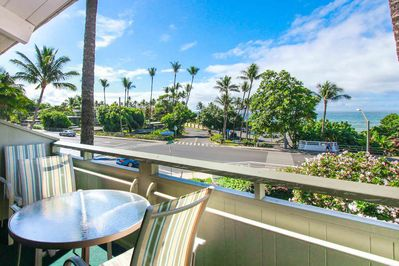 Patio table and chairs on lanai overlooking palm trees and nearby street