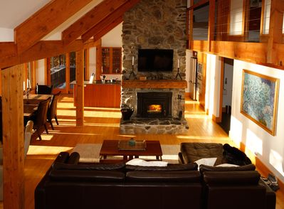 Living room and stone fireplace