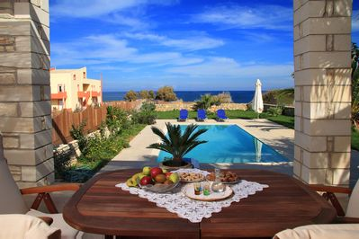 Villa next to the beach,Sfakaki,Rethymno,shaded area with Dining table