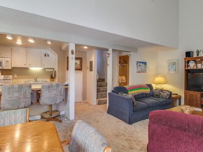 Photo for Mountainview, two-level studio w/ decks, shared pool & hot tub - close to skiing