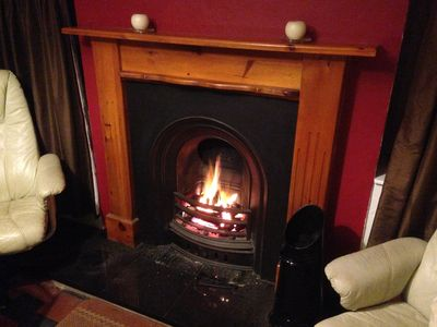 Roaring fire in the dining room