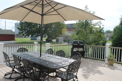 Gas grill, large yard and plenty of seating