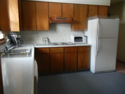 Full sized appliances, ice maker, dishwasher, microwave, coffeepot and more.