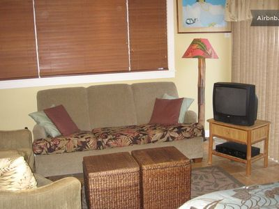 Living room with sleeper sofa, Cable TV and DVD player