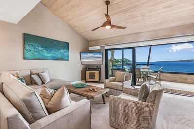 Watch TV or watch for whales from the living area.