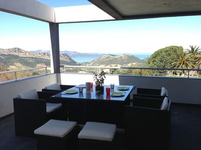 Photo for Modern villa with magnificent views of the Gulf of Saint Florent