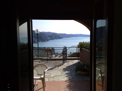 Photo for Residence with Beautiful View on Gulf of Portofino and seasonal swimming pool.