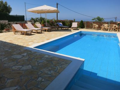 Photo for Sea View, private villa with pool, close to beach, walking distance to Taverna
